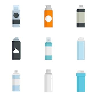 Conjunto de ícones de espuma de barbear. conjunto plano de ícones de vetor de espuma de barbear isolado no fundo branco