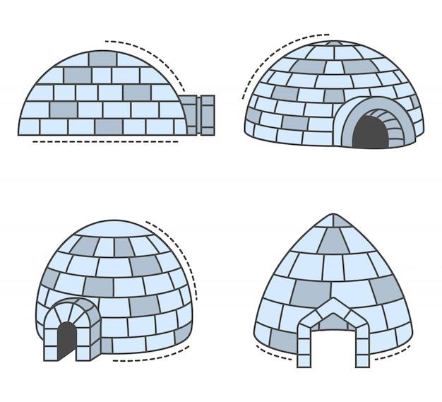 Conjunto de ícones de esquimó iglu, estilo de estrutura de tópicos