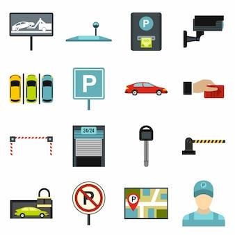 Conjunto de ícones de estacionamento de carros