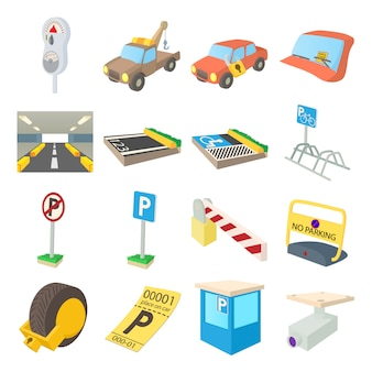 Conjunto de ícones de estacionamento em vetor isolado de estilo dos desenhos animados