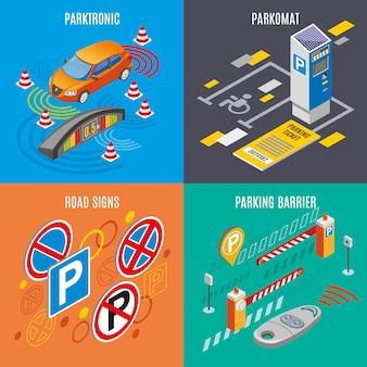 Conjunto de ícones de estacionamento isométrico