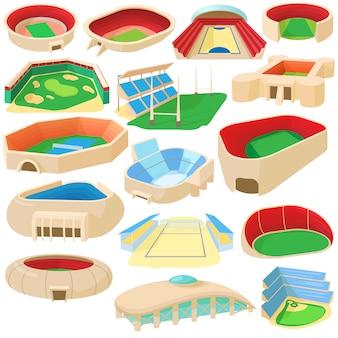 Conjunto de ícones de estádio de esporte dos desenhos animados