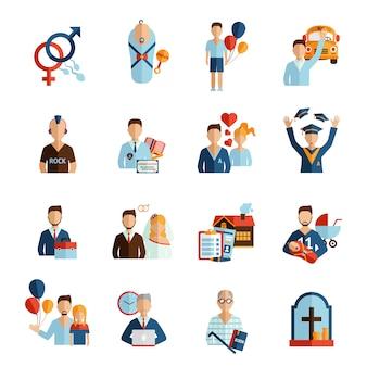 Conjunto de ícones de estágios de vida