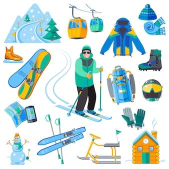 Conjunto de ícones de estância de esqui com equipamentos de esporte de inverno