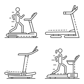 Conjunto de ícones de esteira. conjunto de contorno de ícones de vetor de esteira