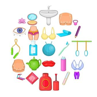 Conjunto de ícones de esteira. conjunto de desenhos animados de 25 ícones de escada rolante para web isolado no branco
