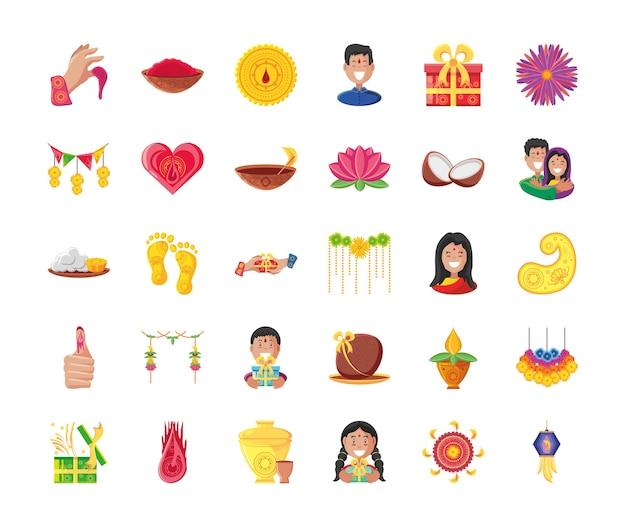 Conjunto de ícones de estilo 30 detalhado de bhai dooj, festival e celebração