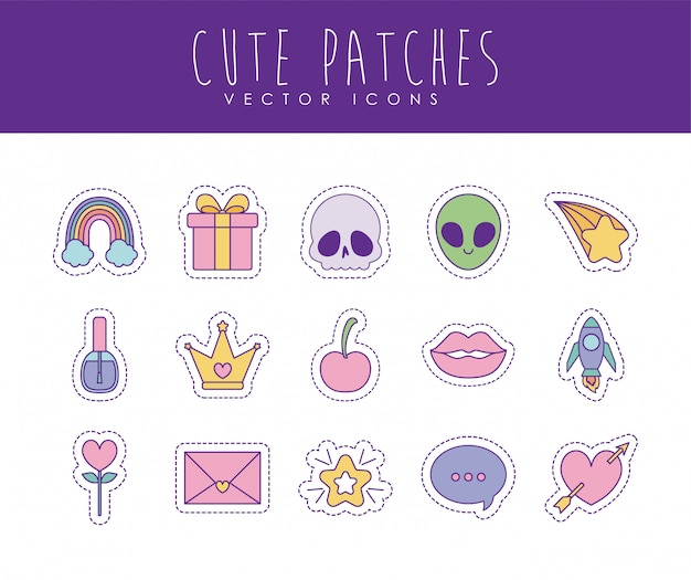 Conjunto de ícones de estilo bonito linha e preenchimento de patches