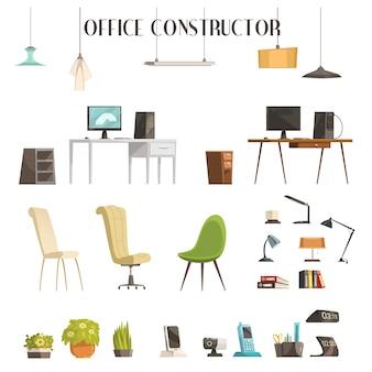 Conjunto de ícones de estilo cartoon de acessórios interiores