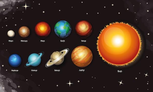 Conjunto de ícones de estilo da via láctea, espaço e planeta, com tema de espaço futurista e cosmos