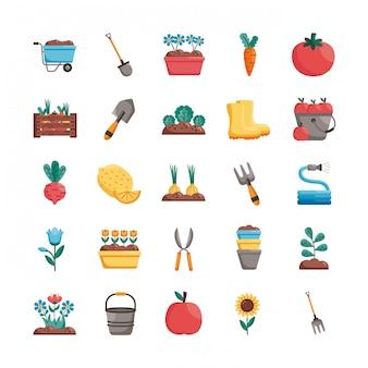 Conjunto de ícones de estilo de detalhe de jardinagem