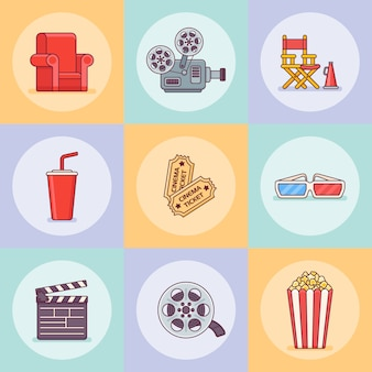 Conjunto de ícones de estilo de linha plana de cinema ou filme.