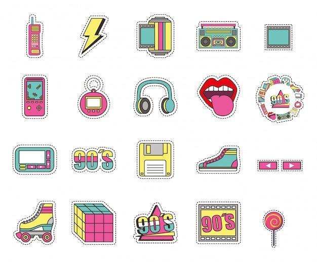 Conjunto de ícones de estilo de moda isolado