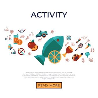 Conjunto de ícones de estilo de vida de atividade saudável