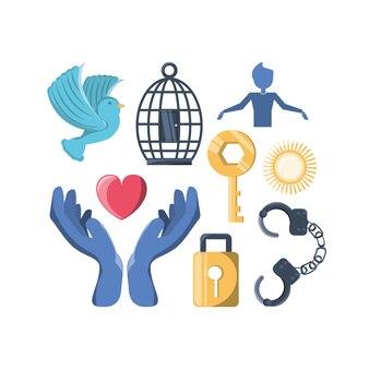 Conjunto de ícones de estilo de vida de liberdade e tema levantado