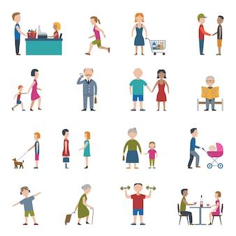 Conjunto de ícones de estilo de vida de pessoas