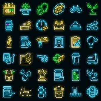 Conjunto de ícones de estilo de vida saudável. conjunto de contorno de ícones de vetor de estilo de vida saudável, cor de néon no preto