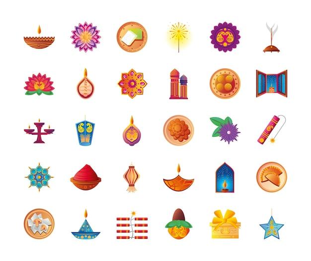 Conjunto de ícones de estilo detalhado de diwali 30, festival de luzes da índia