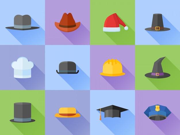 Conjunto de ícones de estilo plano de chapéus com sombra longa.