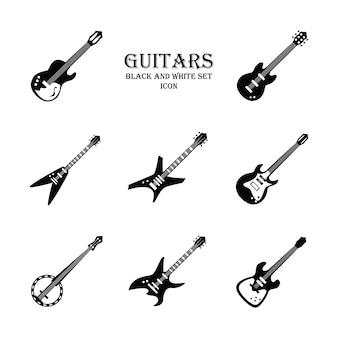 Conjunto de ícones de estilo preto e branco de instrumentos de guitarra