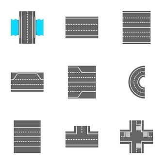 Conjunto de ícones de estradas, estilo cartoon