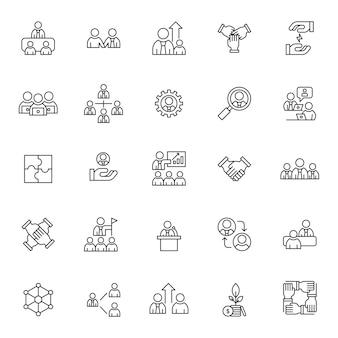 Conjunto de ícones de estratégia de trabalho em equipe com contorno simples