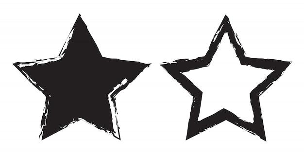 Conjunto de ícones de estrela do grunge