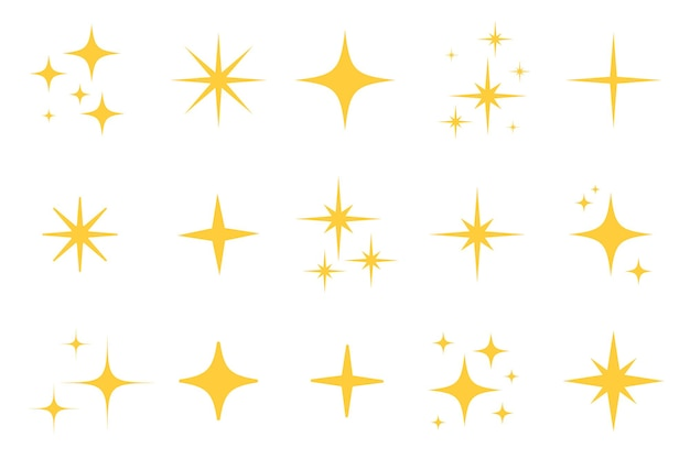 Conjunto de ícones de estrela plana de flash cintilante. silhueta de estrela cintilante para cintilância dourada, luz cintilante amarela, efeito mágico de reflexo brilhante. ilustração isolada do vetor.