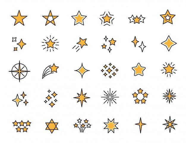 Conjunto de ícones de estrelas lineares estrelas brilha ícones