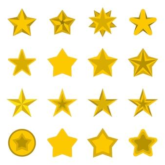 Conjunto de ícones de estrelas, plana ctyle