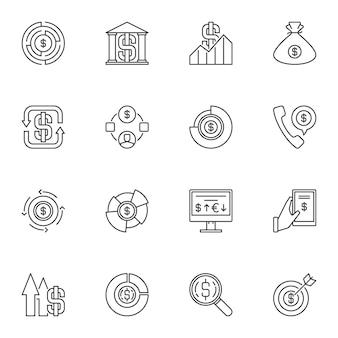 Conjunto de ícones de estrutura de tópicos de dinheiro. símbolos de linha de dinheiro