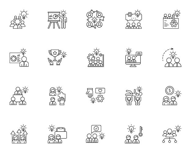Conjunto de ícones de estrutura de tópicos de trabalho em equipe