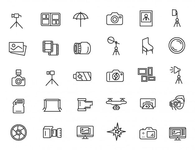 Conjunto de ícones de estúdio de fotografia linear ícones de fotógrafo
