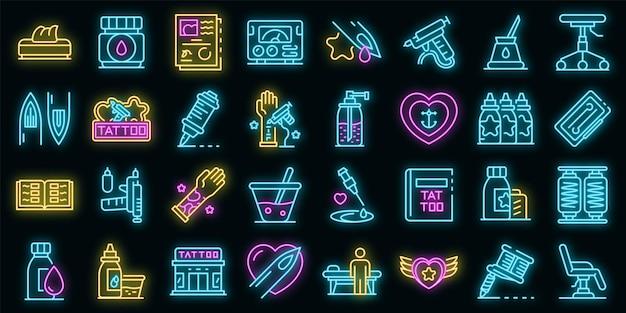 Conjunto de ícones de estúdio de tatuagem. conjunto de contorno de ícones de vetor de estúdio de tatuagem, cor de néon no preto