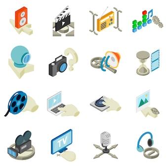 Conjunto de ícones de estúdio de vídeo, estilo isométrico