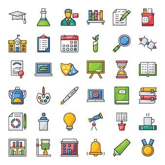 Conjunto de ícones de estudo e educação