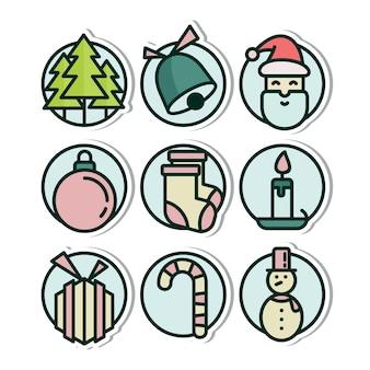 Conjunto de ícones de etiqueta de natal