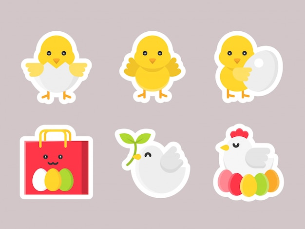 Conjunto de ícones de etiqueta plana de páscoa