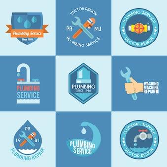 Conjunto de ícones de etiquetas de encanamento