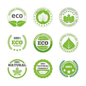 Conjunto de ícones de etiquetas de folhas ecológicas