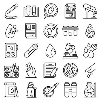 Conjunto de ícones de exame de sangue, estilo de estrutura de tópicos