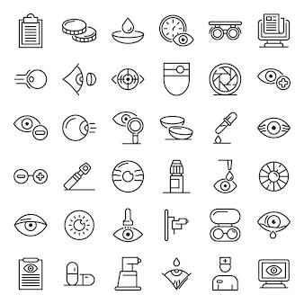 Conjunto de ícones de exame oftalmológico, estilo de estrutura de tópicos