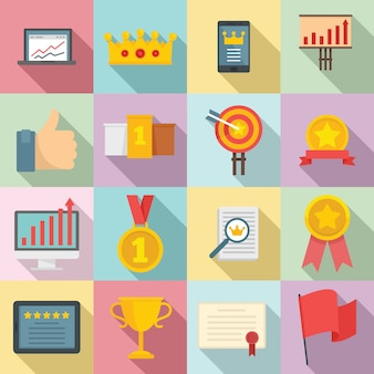 Conjunto de ícones de excelência, estilo simples