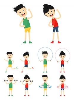 Conjunto de ícones de exercícios de pessoas