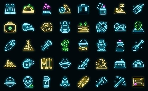 Conjunto de ícones de expedição vetor de néon