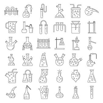 Conjunto de ícones de experimento de laboratório químico de escola