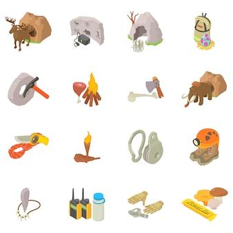 Conjunto de ícones de exploração de caverna