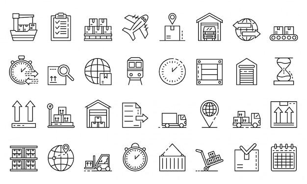 Conjunto de ícones de exportação de mercadorias, estilo de estrutura de tópicos
