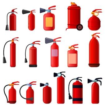 Conjunto de ícones de extintor de incêndio, estilo cartoon