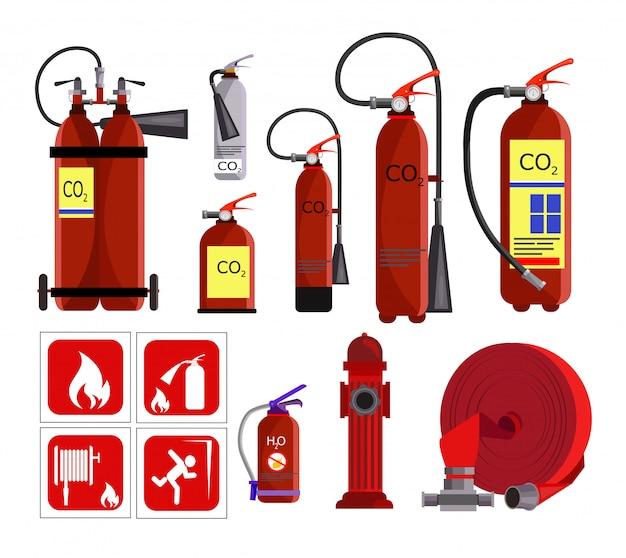 Conjunto de ícones de extintor de incêndio